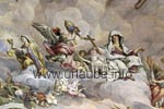 The frescos of the cuppola and the paintings were laboriously restored